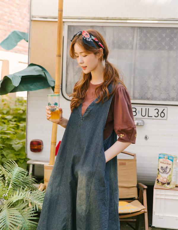 goroke-[빈티지 워싱 V청 ops*3c]♡韓國女裝連身裙
