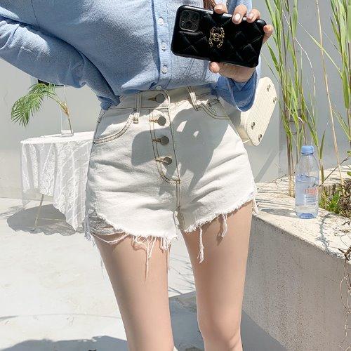 jnroh-엔코 포버튼 헤짐 아이보리 코튼 숏팬츠♡韓國女裝褲
