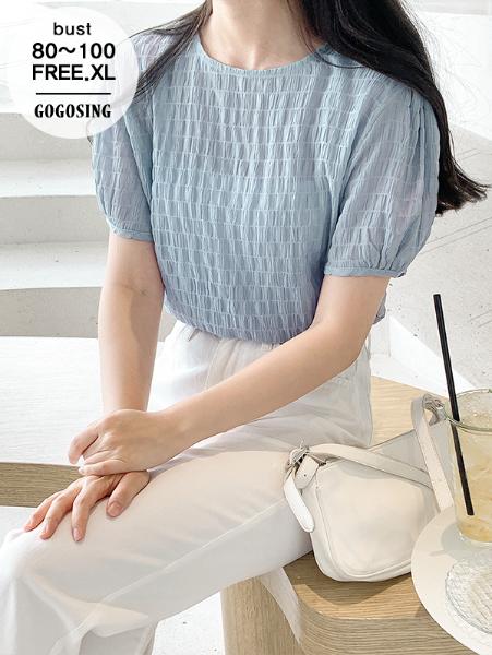 ggsing-[29일9시까지9%할인]미닛 라운드 반팔BL (엠보원단,퍼프,가둘레)♡韓國女裝上衣