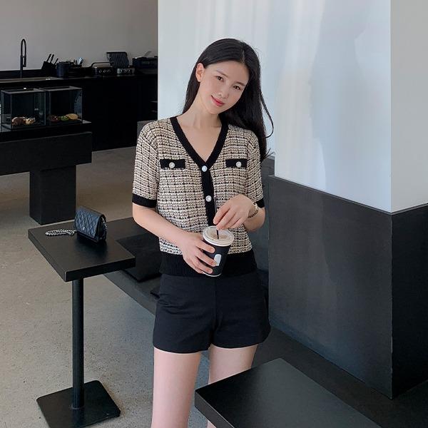 benito-미링 트위드 배색 가디건 신상/브이넥/가디건/썸머/니트/베스트/여성/데일리♡韓國女裝外套