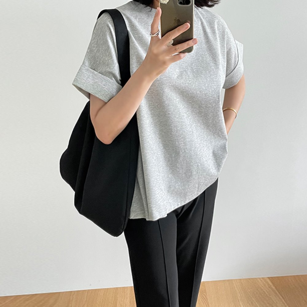 littleblack-미니멀 카브라 롤업 티셔츠(2C)♡韓國女裝上衣