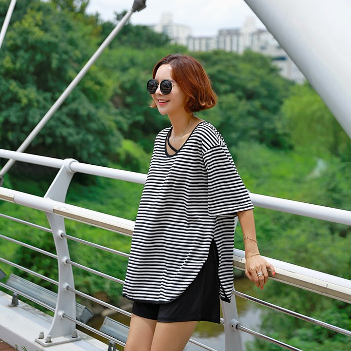 lemite-랍빠라인 사선티♡韓國女裝上衣