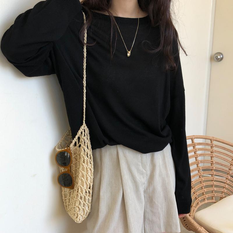 9-room-린넨 포인 니트 (5color)♡韓國女裝上衣