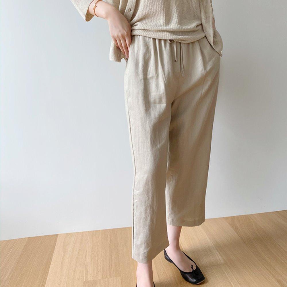 littleblack-로이 린넨 밴딩 팬츠(2C)♡韓國女裝褲