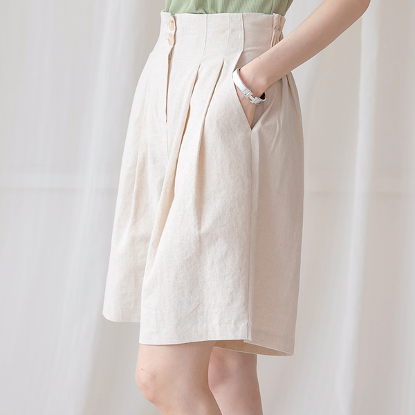 misscandy-[no.20806 투버튼 뒷밴딩 5부 린넨팬츠]♡韓國女裝褲