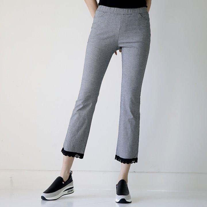 lemite-밑단에 레이스팬츠♡韓國女裝褲