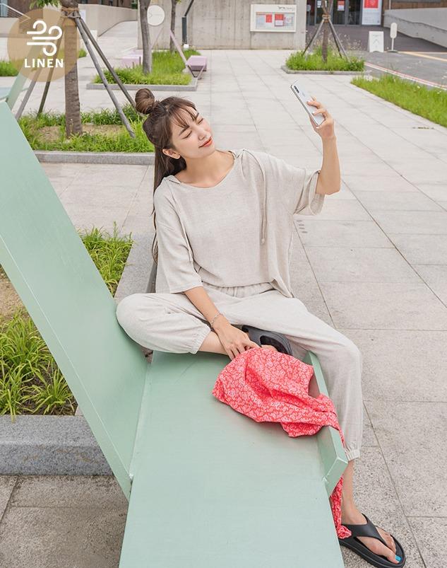 loloten-캐런 린넨 조거세트♡韓國女裝套裝