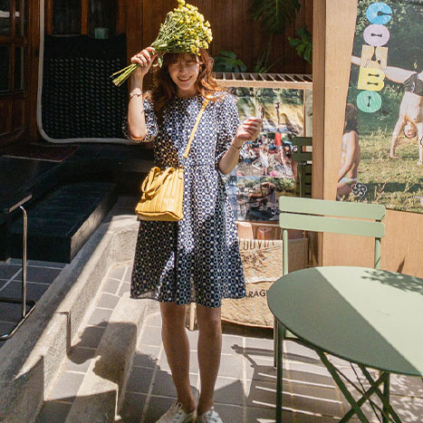 leelin-[라베드 자수 퍼프소매 미디 원피스[size:F(55~66)] ]♡韓國女裝連身裙