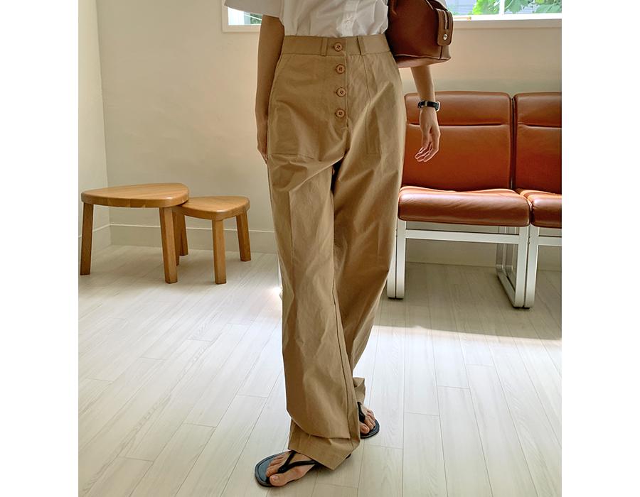frombeginning-버튼 와이드코튼팬츠 (2color)♡韓國女裝褲