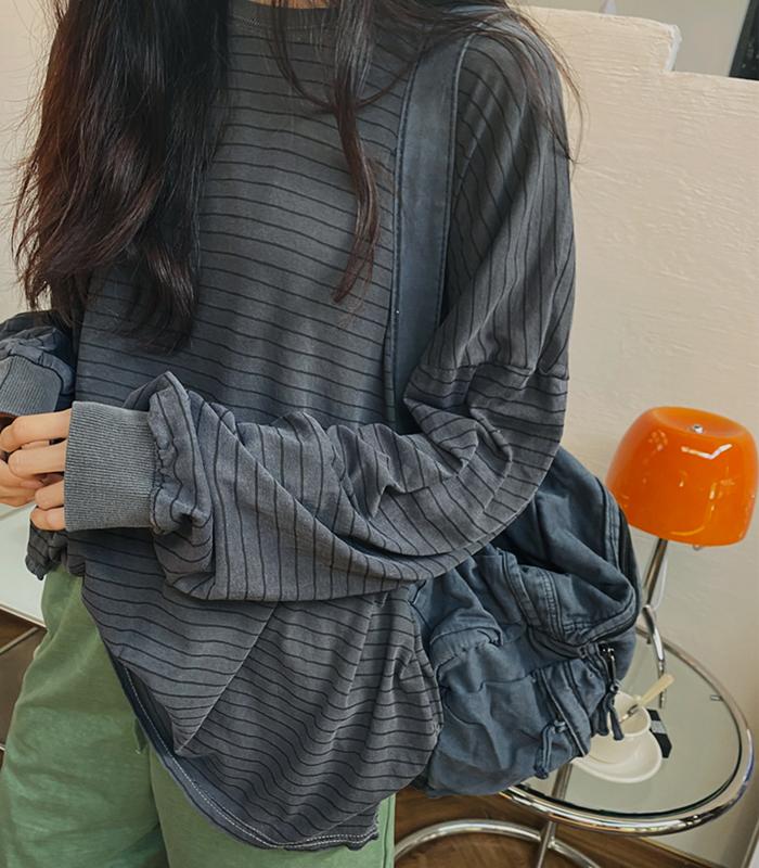 sibuya-[피그먼트 스트라이프 박시 TEE]♡韓國女裝上衣