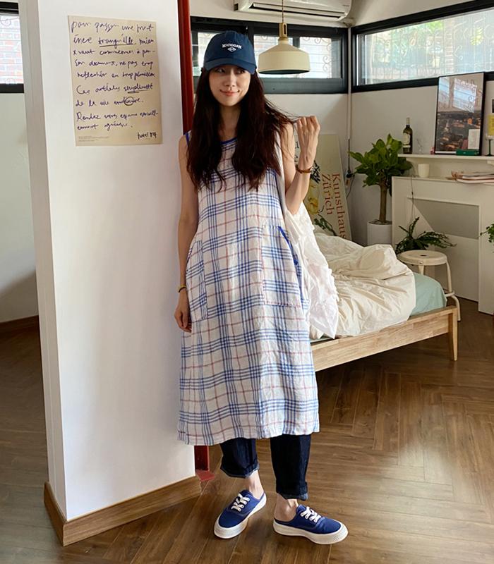 sibuya-[쿨 플레인 체크 ops]♡韓國女裝連身裙