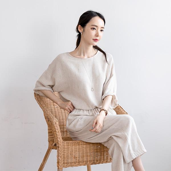 misscandy-[no.20813 레이온혼방 루즈핏탑+밴딩바지 린넨SET]♡韓國女裝上衣