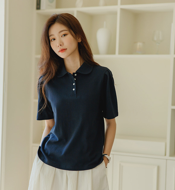justone-류렌 둥근카라 피케이 퍼프티♡韓國女裝上衣