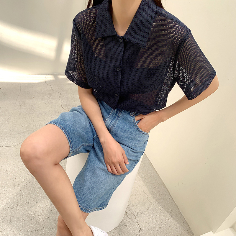 45th-매쉬반팔셔츠 ♡韓國女裝上衣
