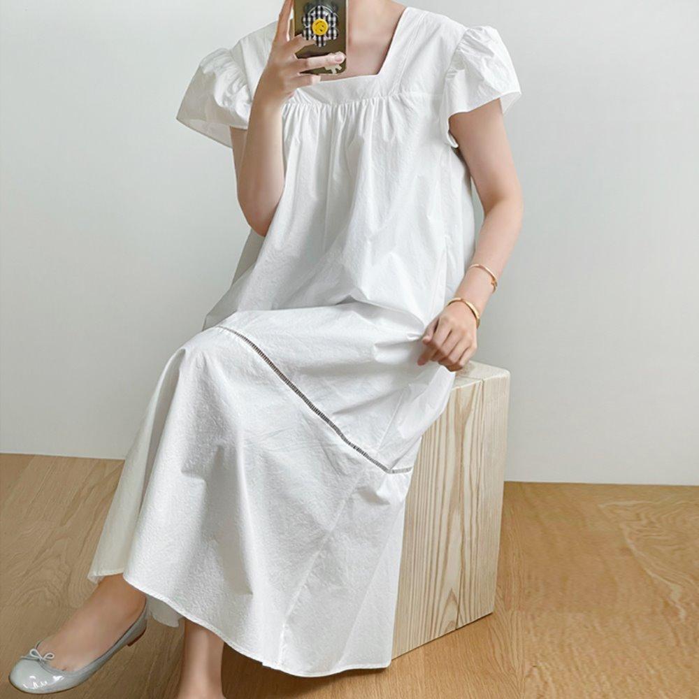 littleblack-스퀘어 프릴 롱 원피스(2C)♡韓國女裝連身裙