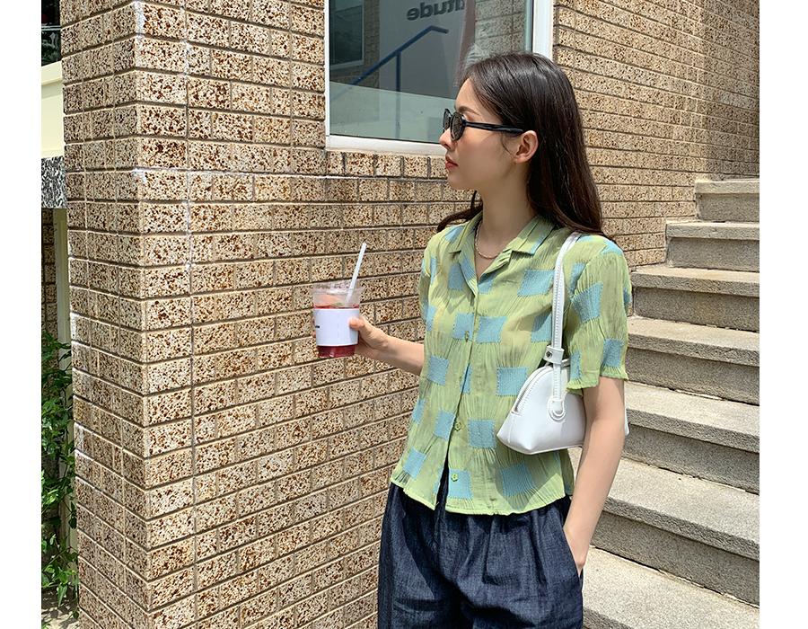 frombeginning-스퀘어패치 링클셔츠블라우스 (2color)♡韓國女裝上衣