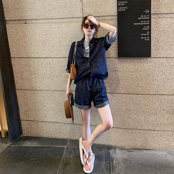 fashion-full-생지 롤업 데님 셔츠 & 5부 팬츠 SET(TIME SALE 30%)♡韓國女裝套裝