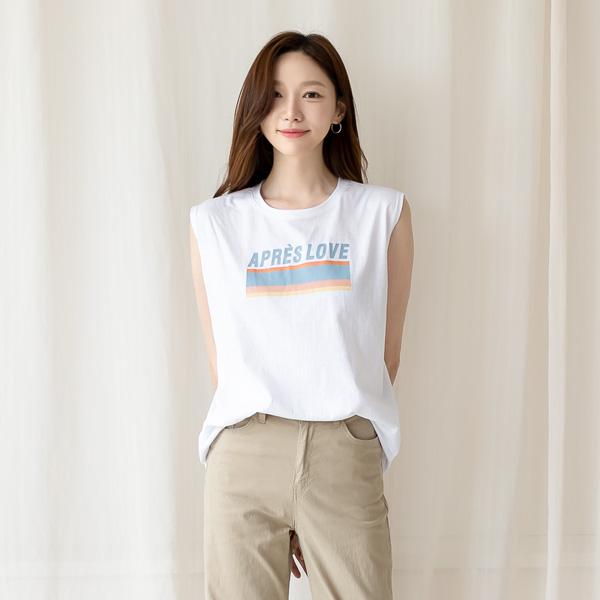 misscandy-[no.20808 컬러프린팅 민소매 티셔츠]♡韓國女裝上衣