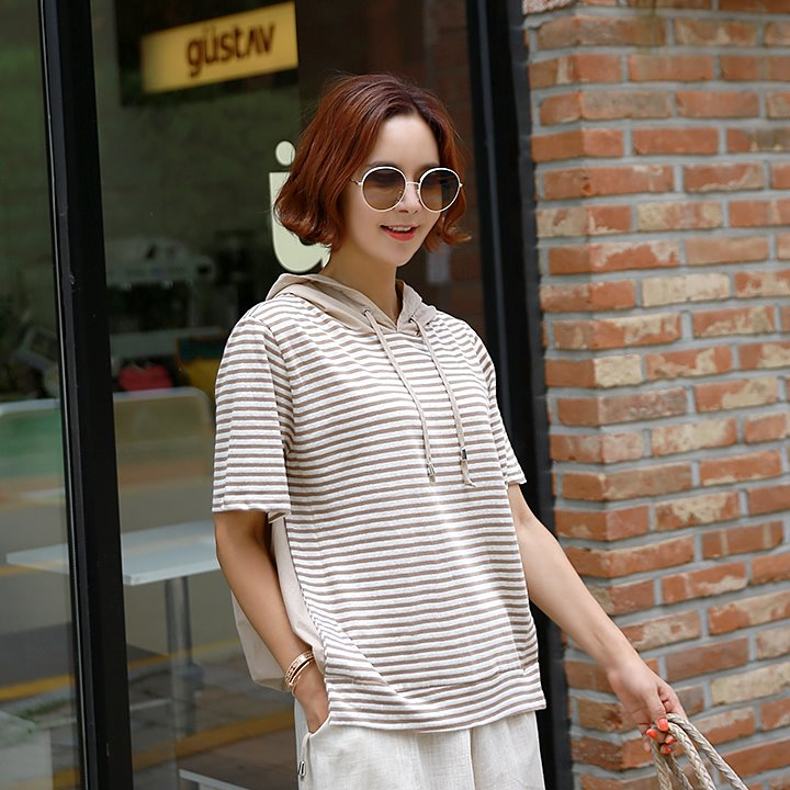 lemite-라인 후드티(린넨100%)♡韓國女裝上衣