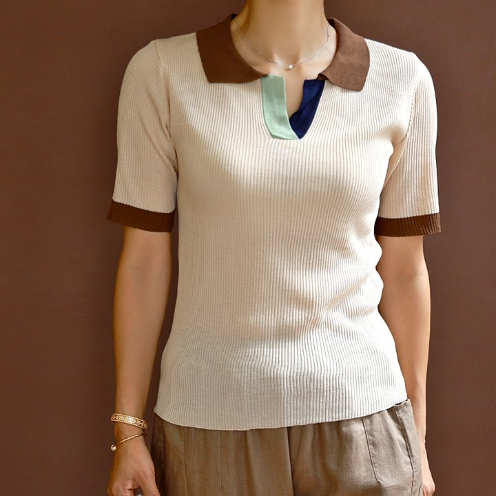 lemite-톤배색 카라썸머니트♡韓國女裝上衣