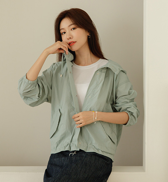 justone-바삭 바람막이 스트링 후드점퍼♡韓國女裝外套
