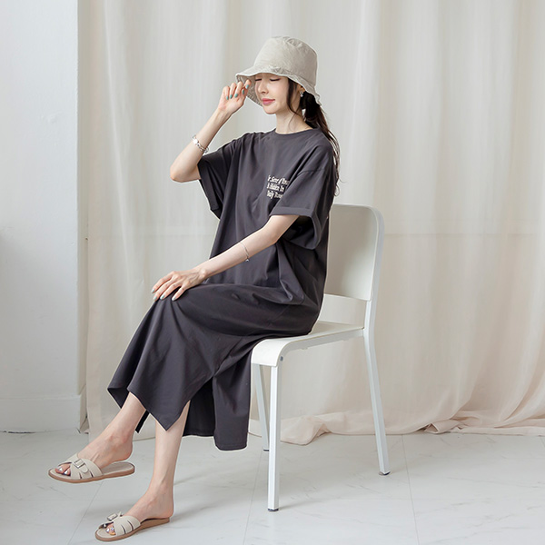misscandy-[no.20811 배색레터링 루즈핏 코튼원피스]♡韓國女裝連身裙