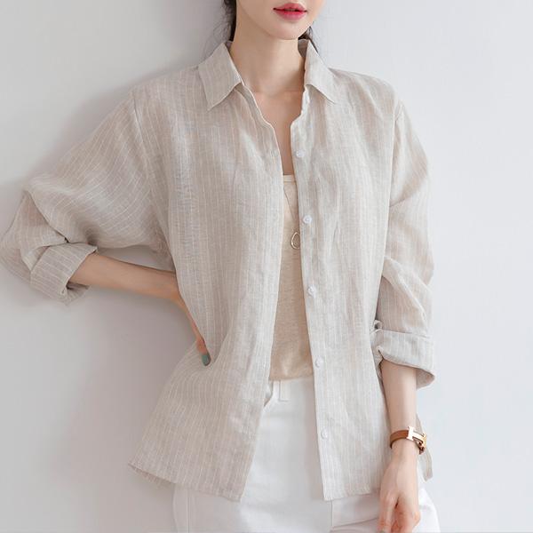 misscandy-[no.20812 린넨100% 스트라이프 루즈핏셔츠]♡韓國女裝上衣