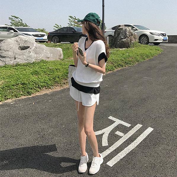 fashion-full-로벵 레이어드 티셔츠 & 밴딩 숏팬츠 SET(TIME SALE 15%)♡韓國女裝套裝