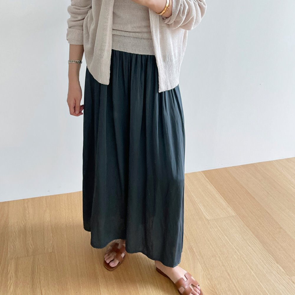 littleblack-이프 밴딩 와이드 팬츠(3C)♡韓國女裝褲