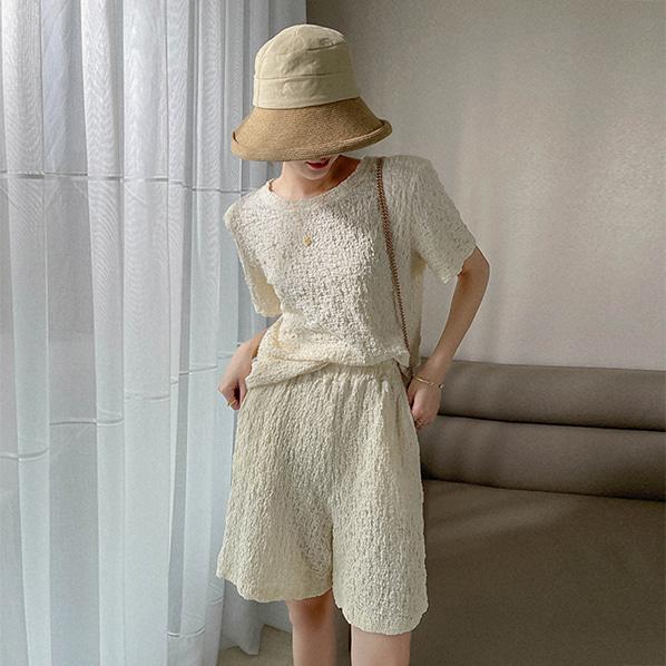 fashion-full-윈드 링클 티셔츠 & 밴딩 밴츠 SET (TIME SALE 20%)♡韓國女裝套裝