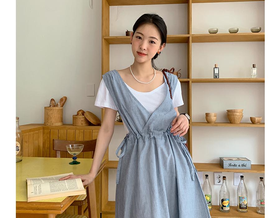 frombeginning-에이프런 스트라이프롱원피스 ♡韓國女裝連身裙