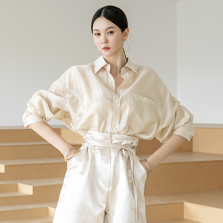 dint-[S431 르엘 베이직 시스루 오버핏 크롭 셔츠]Document♡韓國女裝上衣