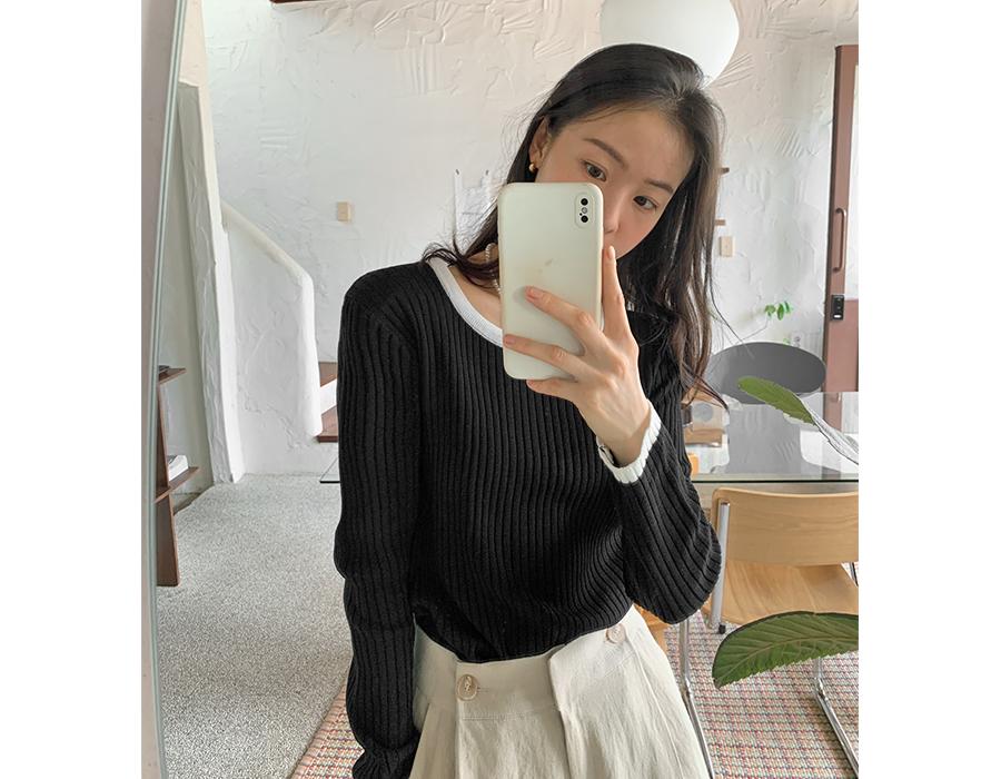 frombeginning-헤이즐 골지라운드니트 (6color)♡韓國女裝上衣