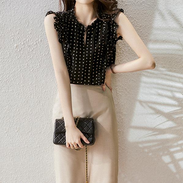 fashion-full-파리 프릴 나시 블라우스 (TIME SALE 20%)♡韓國女裝上衣