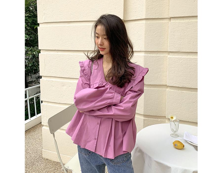 frombeginning-빅카라 핀턱플리츠블라우스 (3color)♡韓國女裝上衣