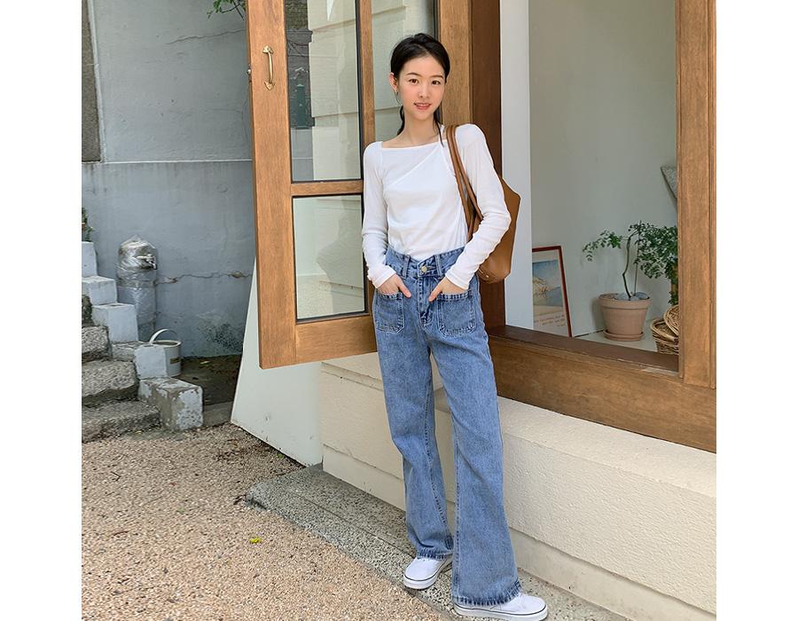 frombeginning-트윈포켓 롱부츠컷데님팬츠♡韓國女裝褲