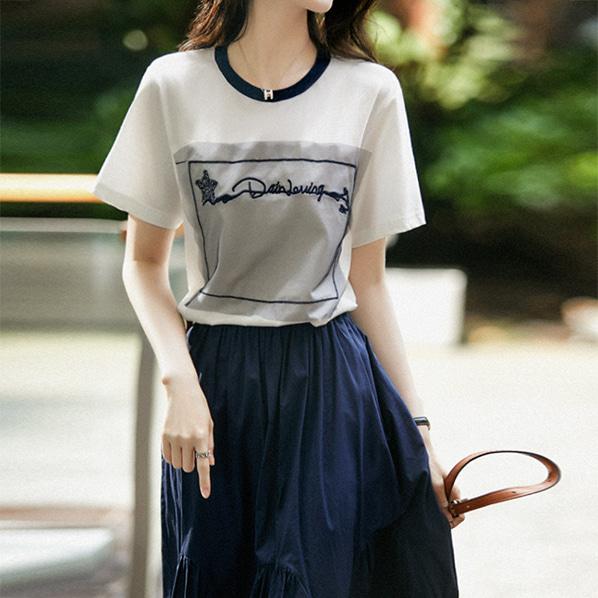 fashion-full-퍼셋 오간자 포인트 티셔츠(TIME SALE 20%)♡韓國女裝上衣