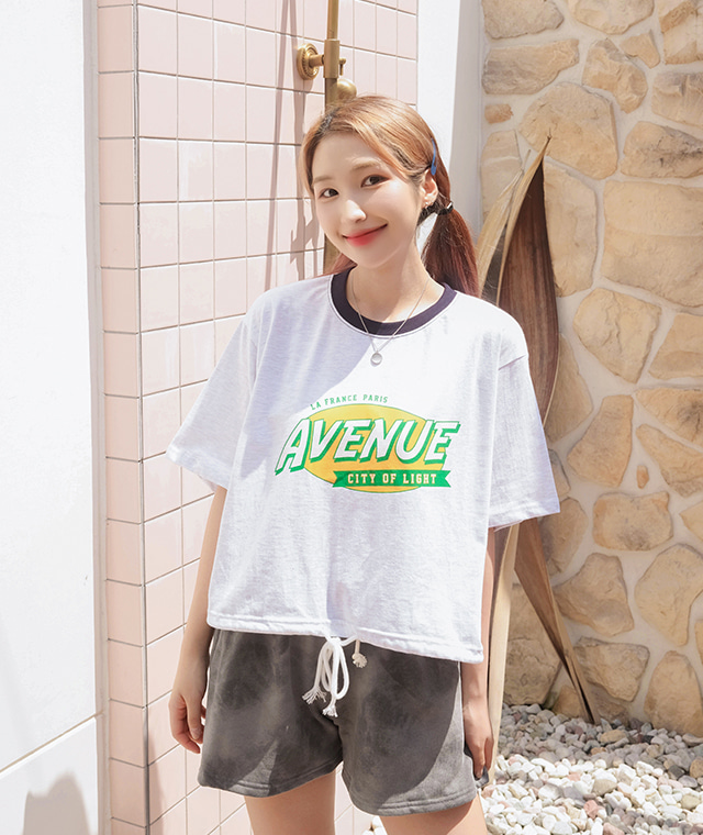 kikiko-에비뉴반크롭반팔티♡韓國女裝上衣
