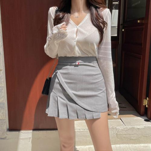 zanne-[LEXY] 비긴어게인 배색 여리핏 브이넥 가디건 - 잔느♡韓國女裝外套