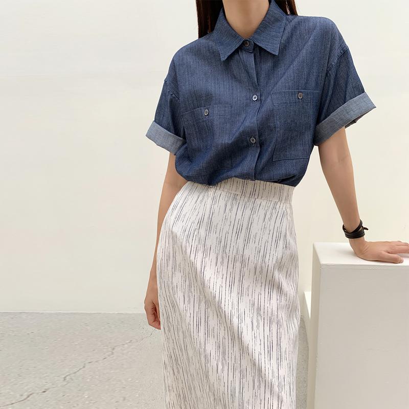 45th-진청포켓셔츠 ♡韓國女裝上衣
