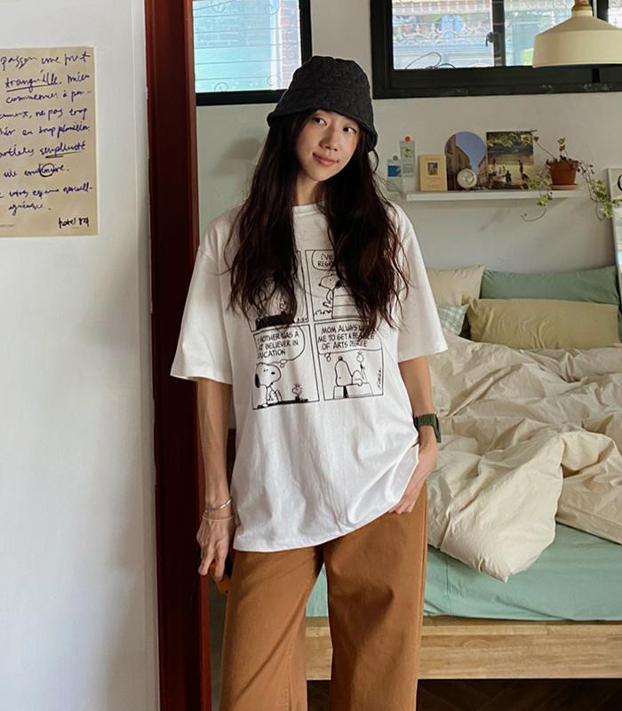 sibuya-[스누피 카툰 박시 티셔츠]♡韓國女裝上衣