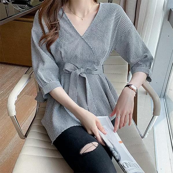 fashion-full-소미 랩 체크 블라우스(TIME SALE 20%)♡韓國女裝上衣