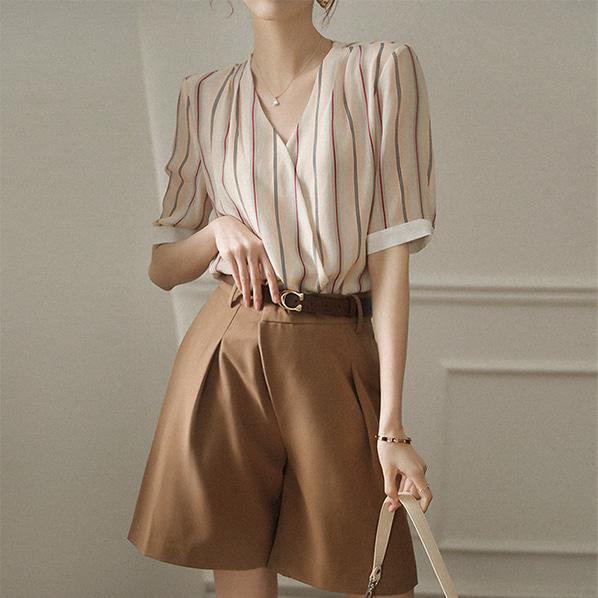 fashion-full-라페 랩 브이넥 블라우스(TIME SALE 20%)♡韓國女裝上衣