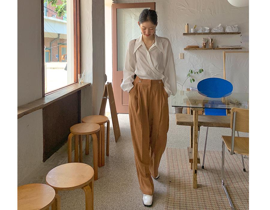 frombeginning-모던 버튼핀턱와이드슬랙스 (3color)♡韓國女裝褲