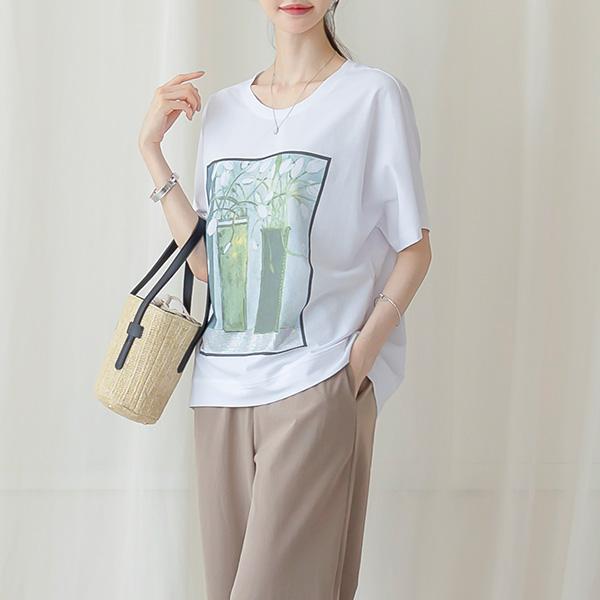 misscandy-[no.20821 큐빅장식 수채화나염 가오리핏 티셔츠]♡韓國女裝上衣
