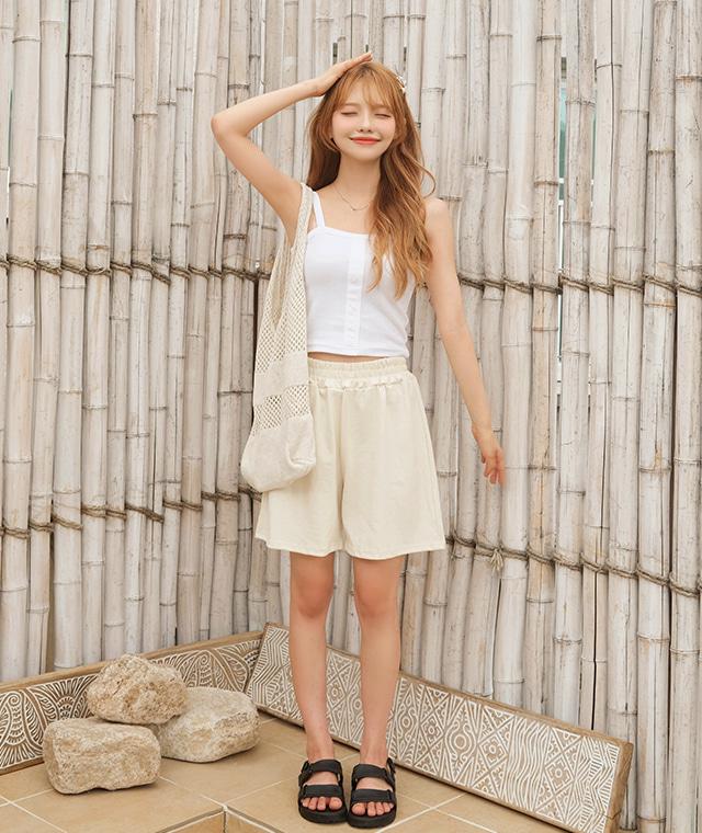 kikiko-버튼크롭나시♡韓國女裝上衣