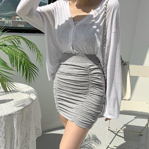 jnroh-(밴딩) 코즈 셔링 미니 스커트 (그레이,바이올렛,블랙)♡韓國女裝裙
