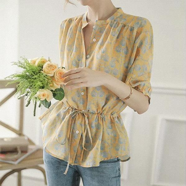 fashion-full-로시 헨리넥 스트랩 블라우스(TIME SALE 20%)♡韓國女裝上衣