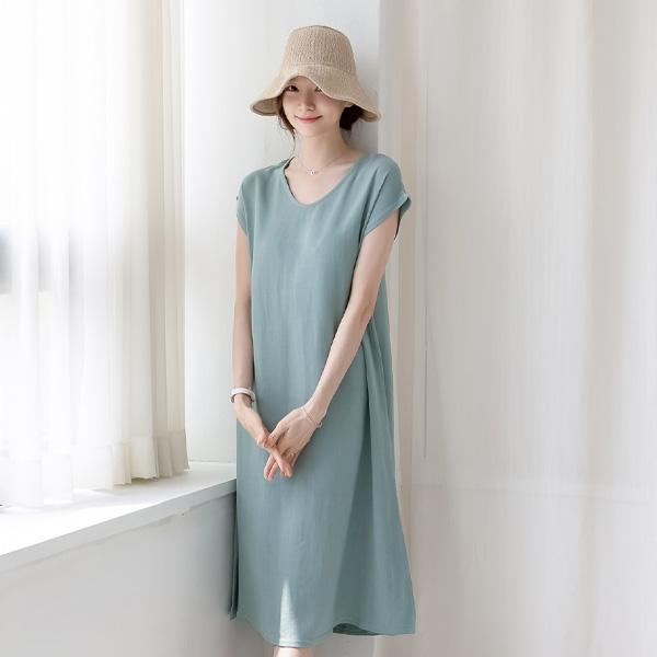 misscandy-[no.20817 레이온혼방 A라인 캡소매 린넨원피스]♡韓國女裝連身裙
