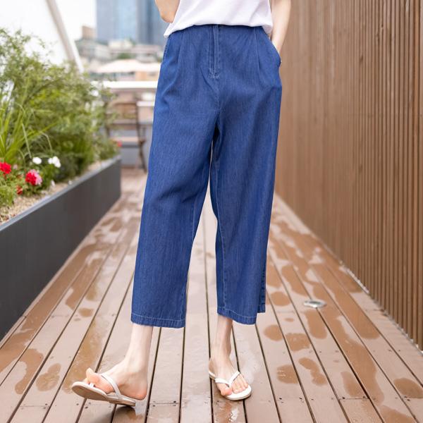 misscandy-[no.20825 반밴딩 쿨데님 경량팬츠]♡韓國女裝褲